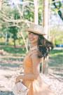 Pink-asianvogue-heels-orange-skater-h-m-dress-neutral-boater-cocco-hat