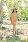 Orange-skater-h-m-dress-neutral-boater-cocco-hat-pink-asianvogue-heels