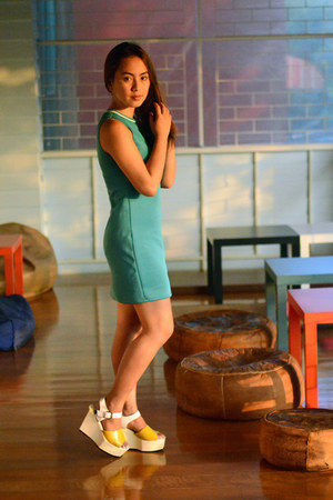 turquoise blue SM GTW dress - yellow Zapatto wedges