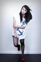 maxi shirt bench shirt - tights - denim shorts bench shorts - suede heels - vint