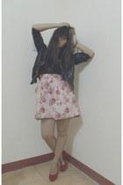 black leather jacket cocco jacket - bubble gum floral dress cocco dress