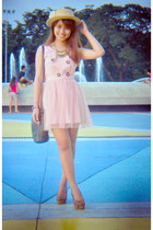 cream boater cocco hat - pink dress - gray sling bag