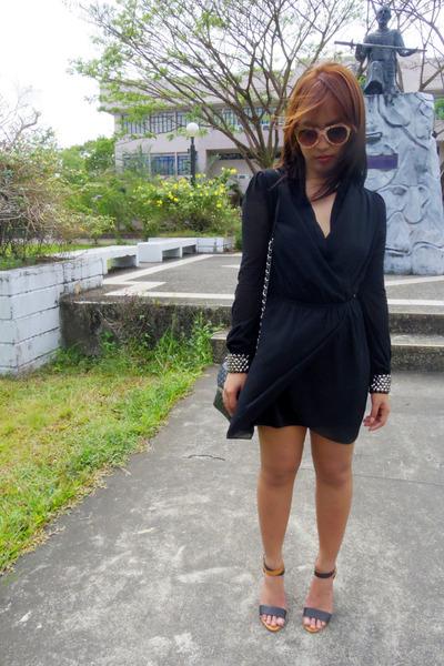 black ezra dress - black Mango bag - bronze twinky heels