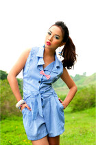 blue striped cocco romper - red Quirky Finds accessories - eggshell bangles Seas