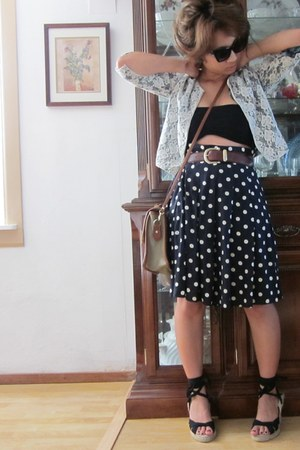 vintage Dooney and Bourke bag - Forever21 sunglasses - lace cardigan - polka dot