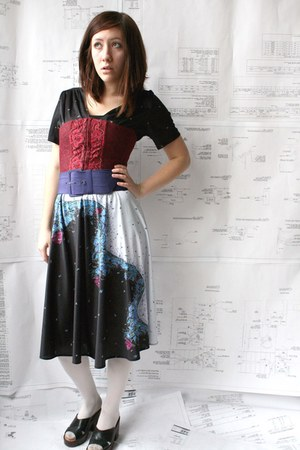 black vintage thrifted dress - white unknown tights - maroon floral corset wal-m