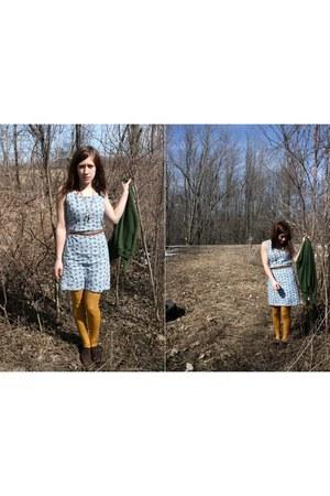 blue Old Navy dress - dark brown salvation army Vintage Thrifted heels - mustard