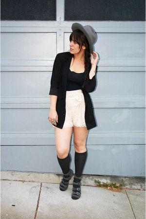 black Factory blazer - beige H&M shorts - gray vintage hat - gray American Appar