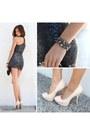 Black-fur-bolero-dailylook-coat-nude-bamboo-shoes