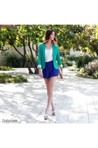 silver Dailylook shoes - turquoise blue Dailylook blazer - navy Dailylook shorts