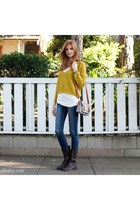 brown Dailylook shoes - navy Dailylook jeans - mustard Dailylook sweater