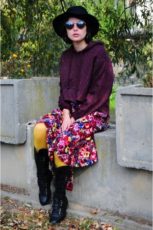 magenta floral print thrifted dress - black random brand boots