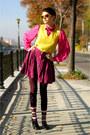 Hot-pink-thrifted-shirt-maroon-h-m-socks-yellow-h-m-sunglasses