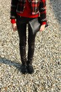 Black-patent-leather-vintage-ecco-shoes-red-black-and-white-thrifted-jacket