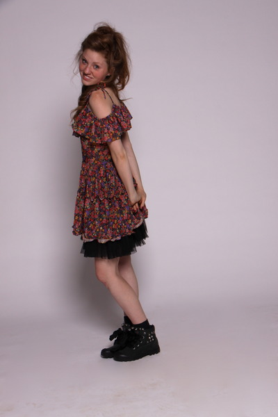 red vintage dress - black Paladium shoes