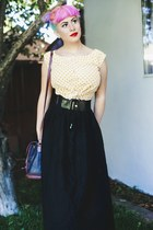 black maxi skirt go jane skirt - dark brown thrifted bag - black thrifted belt