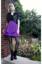 vintage jacket - Target shirt - DIY skirt - Target tights - sam edelman shoes