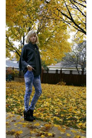 blue tie dye DIY jeans - black platform sam edelman boots