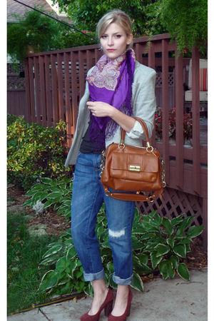 gray Norma Kamali blazer - purple russian scarf - blue Levis jeans - brown coach