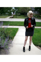 Express jacket - American Apparel shirt - forever 21 skirt - sam edelman boots