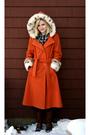 Orange-vintage-coat-silver-target-scarf-black-jeans-brown-vintage-boots