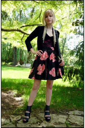 pink Target skirt - black platforms Ebay shoes - black studded DIY blazer