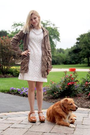 white vintage dress - green 212 jacket - beige Kork ease shoes
