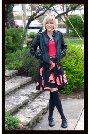 pink Target skirt - black faux leather H&M jacket