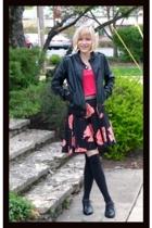 pink Target skirt - black faux leather H&M jacket
