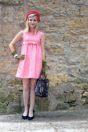 pink 60s mini vintage dress - black me too shoes