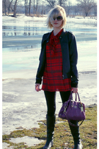 red vintage from Ebay dress - black Kimchi&Blue leggings - black DKNY boots - pu