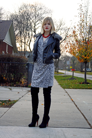 black Express coat - red vintage necklace - silver Norma Kamali dress - black Eb