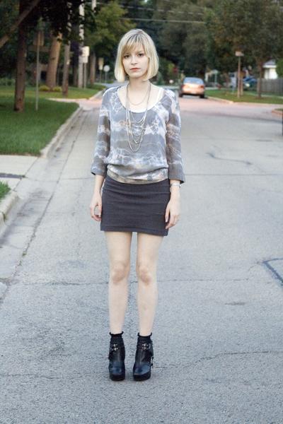 soul mate blazer - Forever 21 skirt - sam edelman boots - Express jacket