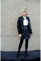 black leather vintage from Ebay skirt - silver calvin klein shoes