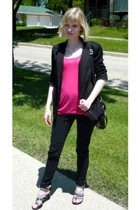 black blazer - silver studded shoes - black jeggings Target jeans