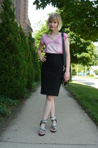 silver studded shoes - black pencil skirt f21 skirt - pink tunic Lux top