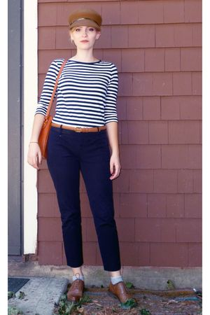 blue JCrew pants - beige Nine West hat - brown vintage shoes - brown aigner purs