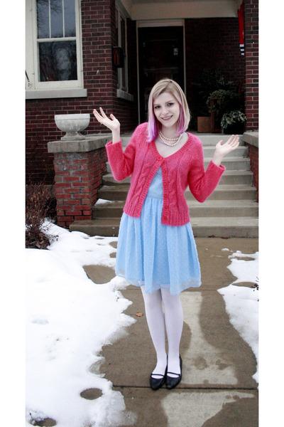 e079661ebab12 pink Guinevere cardigan - blue Rodarte dress - white Target tights - black  Kenne