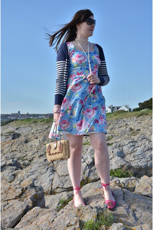 light blue Fever London dress - hot pink flats - blue Fashion Union cardigan