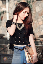 black bracelet - blue jeans - eggshell bag - black belt - black blouse