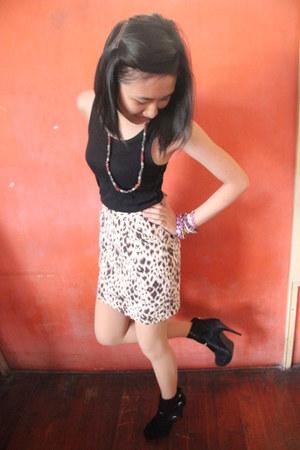skirt - boots - bracelet - top - necklace
