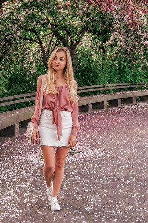 white shoes - white skirt - light pink blouse