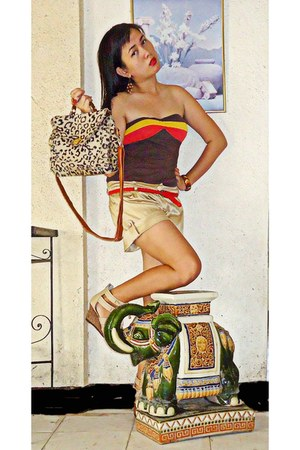 gold metallic shorts - tan leopard print bag - beige wedges - brown tube top