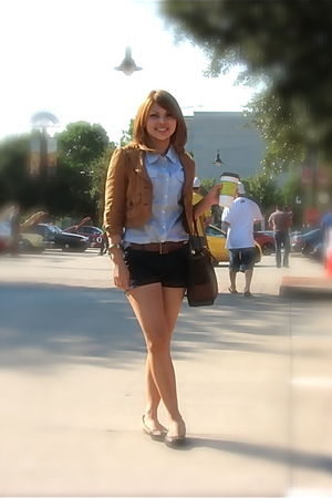 blue Forever21 blouse - brown Forever 21 blazer - blue Forever21 shorts - brown