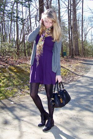 purple Urban Outfitters dress - black Target tights - black thrifted boots - bla