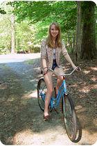 pink vintage blazer - blue vintage shorts - brown vintage shoes