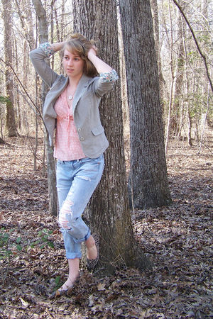 pink thrifted shirt - blue American Eagle jeans - gray Anthropologie blazer - br