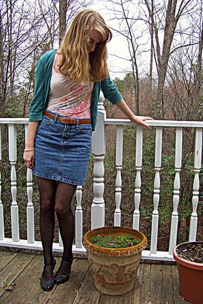 green Frenchi cardigan - beige Forever 21 shirt - blue thrifted skirt - black Ta