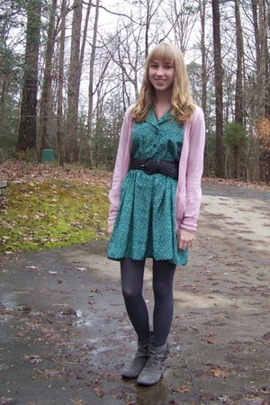 pink Rubbish sweater - green vintage dress - gray HUE tights - gray Target shoes