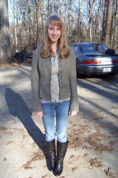 brown free people coat - white Anthropologie shirt - blue hollister jeans - blac